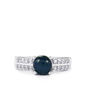 Blue Star Sapphire & White Topaz Sterling Silver Ring ATGW 2.46cts