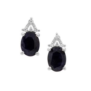 Kanchanaburi Sapphire Earrings with White Zircon in Sterling Silver 3.04cts