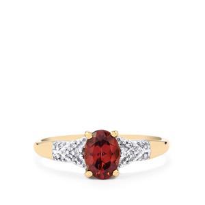 Zanzibar Zircon & Diamond 9K Gold Ring ATGW 1.30cts