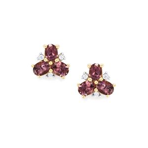 Mahenge Spinel Earrings with White Zircon in 9K Gold 1ct