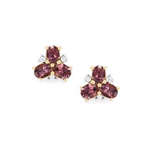 Mahenge Spinel & White Zircon 9K Gold Earrings ATGW 1cts