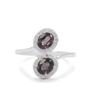 Burmese Purple Spinel & White Zircon Sterling Silver Ring ATGW 1.78cts
