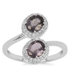 Burmese Spinel Ring with White Zircon in Sterling Silver 1.78cts