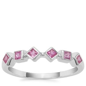 Pink Sapphire Ring in Sterling Silver 0.45ct