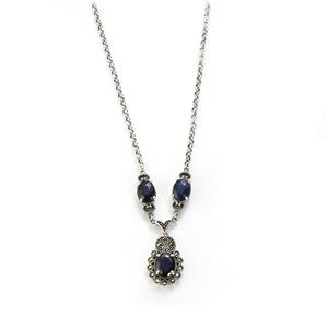 Madagascan Blue Sapphire & Marcasite Sterling Silver Jewels of Valais Necklace ATGW 4.78cts