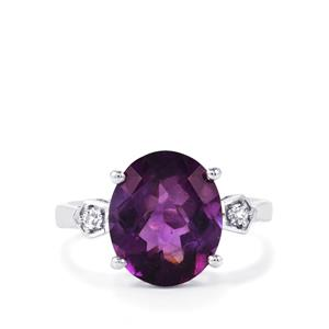 Zambian Amethyst Ring with White Topaz in Sterling Silver 5.88cts