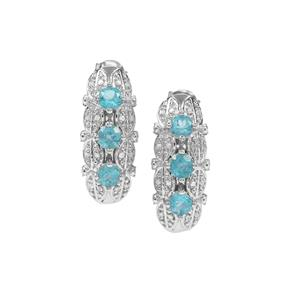 Madagascan Blue Apatite Earrings with White Sapphire in Sterling Silver 1.90cts
