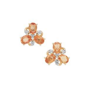 Tanzanian Sunset Sapphire & White Zircon 9K Gold Earrings ATGW 1.45cts
