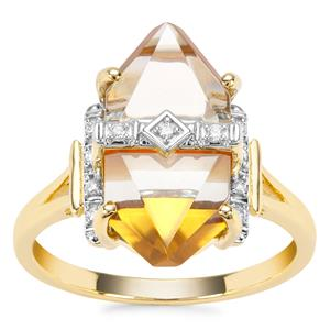 Lehrer Cosmic Obelisk Prasiolite, Mexican Fire Opal Ring with Diamond in 9K Gold 6.30cts
