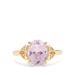 Kolum Kunzite & Pink Sapphire 9k Gold Ring ATGW 3.55cts