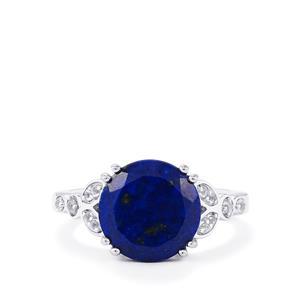 Sar-i-Sang Lapis Lazuli & White Topaz Sterling Silver Ring ATGW 4.56cts