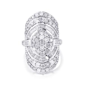 3.10ct Diamond Sterling Silver Ring