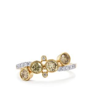1ct Natural Coloured & White Diamond 18K Gold Lorique Ring