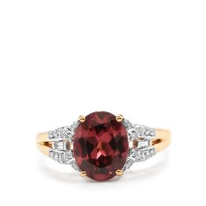 Zanzibar Zircon & Diamond 18K Gold Tomas Rae Ring MTGW 3.58cts