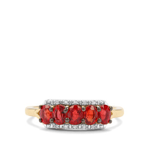 Songea Ruby & Diamond 9K Gold Ring ATGW 1.19cts