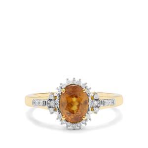 Ambilobe Sphene & Diamond 18K Gold Tomas Rae Ring MTGW 1.54cts