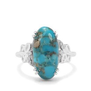 Bonita Blue Turquoise & White Zircon Sterling Silver Ring ATGW 6.18cts