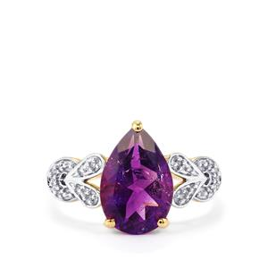 Moroccan Amethyst & Diamond 9K Gold Ring ATGW 2.67cts