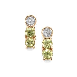Ambanja Demantoid Garnet & Diamond 10K Gold Earrings ATGW 0.86cts