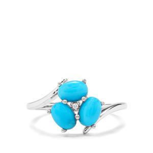 Sleeping Beauty Turquoise Ring with White Zircon in Sterling Silver 1.50cts