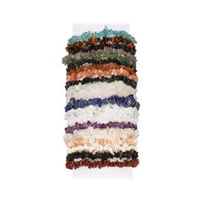 940ct Kaleidoscope Gemstones Set of 20 Stretchable Nugget Bracelet