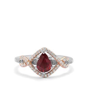 Nigerian Rubellite & Diamond in 18K Two Tone Gold Tomas Rae Ring MTGW 0.89ct