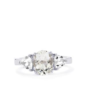 Itinga Petalite & White Topaz Sterling Silver Ring ATGW 2.68cts