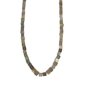 114ct Sterling Silver Labradorite Graduated Bead Necklace