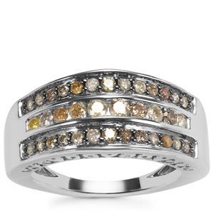 Multi-Colour Diamond Ring in Sterling Silver 0.78ct