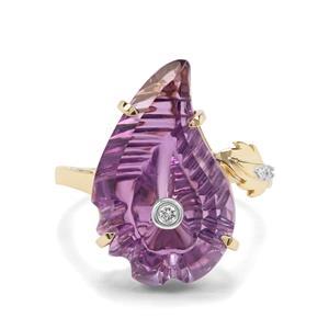 Lehrer Flame Cut Ametista Amethyst & Diamond 9K Gold Ring ATGW 8.36cts