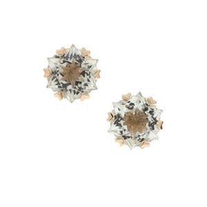Wobito Snowflake Cut Prasiolite Earrings in 9K Gold 4.25cts