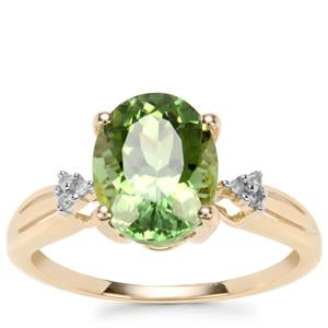 Congo Mint Tourmaline Ring with Diamond in 9k Gold 2.71cts