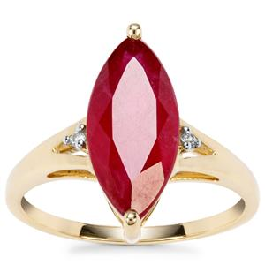 Malagasy Ruby Ring with White Zircon in 9K Gold 4.82cts (F)