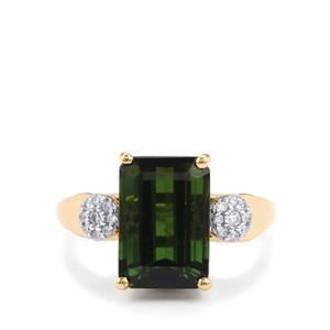 Green Tourmaline Ring with Diamond in 18K Gold 5.12cts