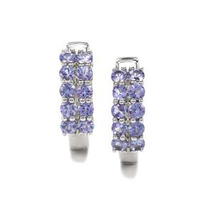 AA Tanzanite Earrings in Platinum Plated Sterling Silver 2.48cts