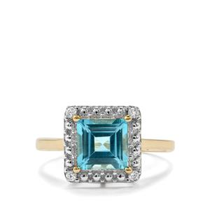 Swiss Blue Topaz & White Zircon 10K Gold Ring ATGW 1.91cts