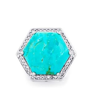 Cochise Turquoise Ring with White Topaz in Sterling Silver 18.96cts