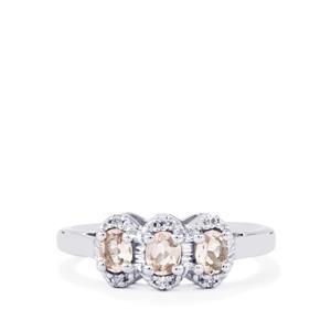 Zambezia Morganite & White Topaz Sterling Silver Ring ATGW 0.57cts