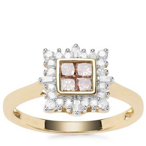 Champagne Diamond Ring with White Diamond in 9K Gold 0.50ct