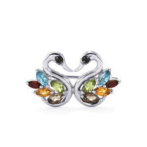 1.50ct Kaleidoscope Gemstones Sterling Silver Odette Brooch