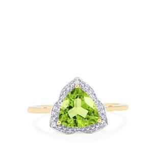 Changbai Peridot Ring with Diamond in 10k Gold 1.92cts