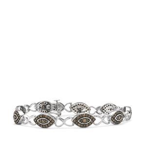 2.35ct Champagne Diamond Sterling Silver Bracelet