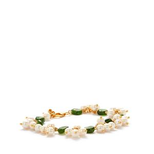 Kaori Cultured Pearl Bracelet with Chrome Diopside in Gold Tone Sterling Silver