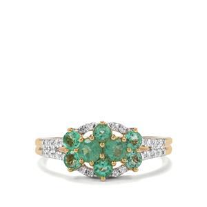 Ethiopian Emerald & Diamond 18K Gold Tomas Rae Ring MTGW 1cts