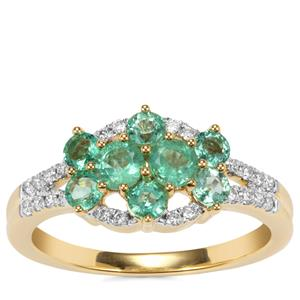 Ethiopian Emerald Ring with Diamond in 18K Gold 1cts