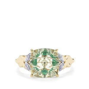 Lehrer KaleidosCut Prasiolite, Zambian Emerald Ring with Diamond in 10K Gold 3.22cts