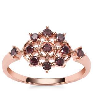 Purple Diamond Ring in 9K Rose Gold 0.39ct