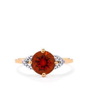 Zanzibar Sunburst Zircon Ring with Diamond in 9K Rose Gold 2.87cts