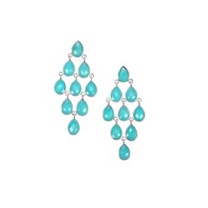 Aqua Chalcedony Earrings in Sterling Silver 32cts