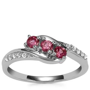 Pink Tourmaline Ring with White Topaz in Sterling Silver 0.44ct